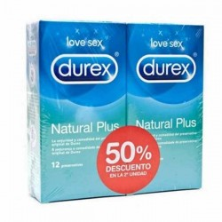 PRESERVA.DUREX DUPLO NATURAL PLUS 12 UDS